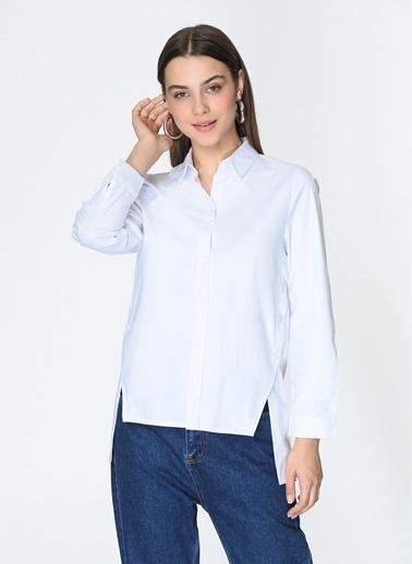 Loves You Yanları Çıtçıt Detaylı Rahat Fit Poplin Gömlek Beyaz